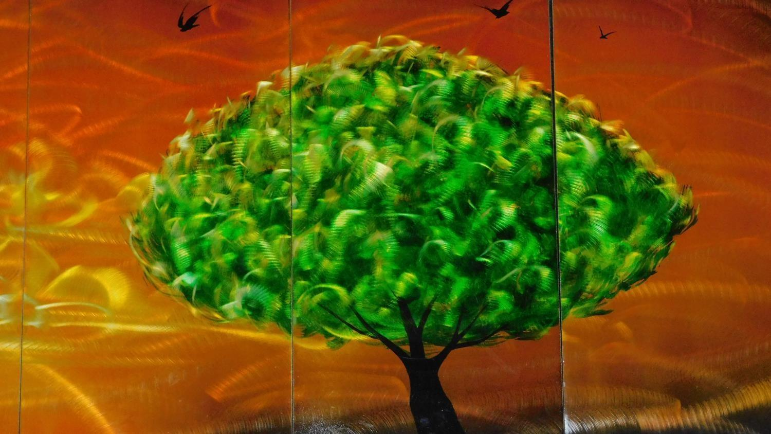A set of five decorative lacquered panels, together depicting a green tree against an orange sky. - Image 2 of 4