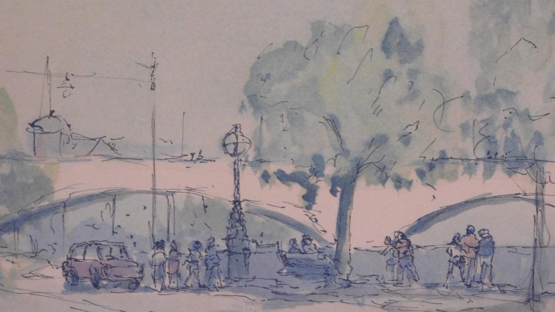 A framed ink sketch, Parisian scene. 49x54cm - Image 2 of 4