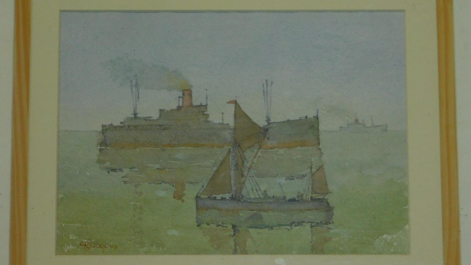 A framed and glazed watercolour, ships at sea and another similar. 49x39 - Image 2 of 6