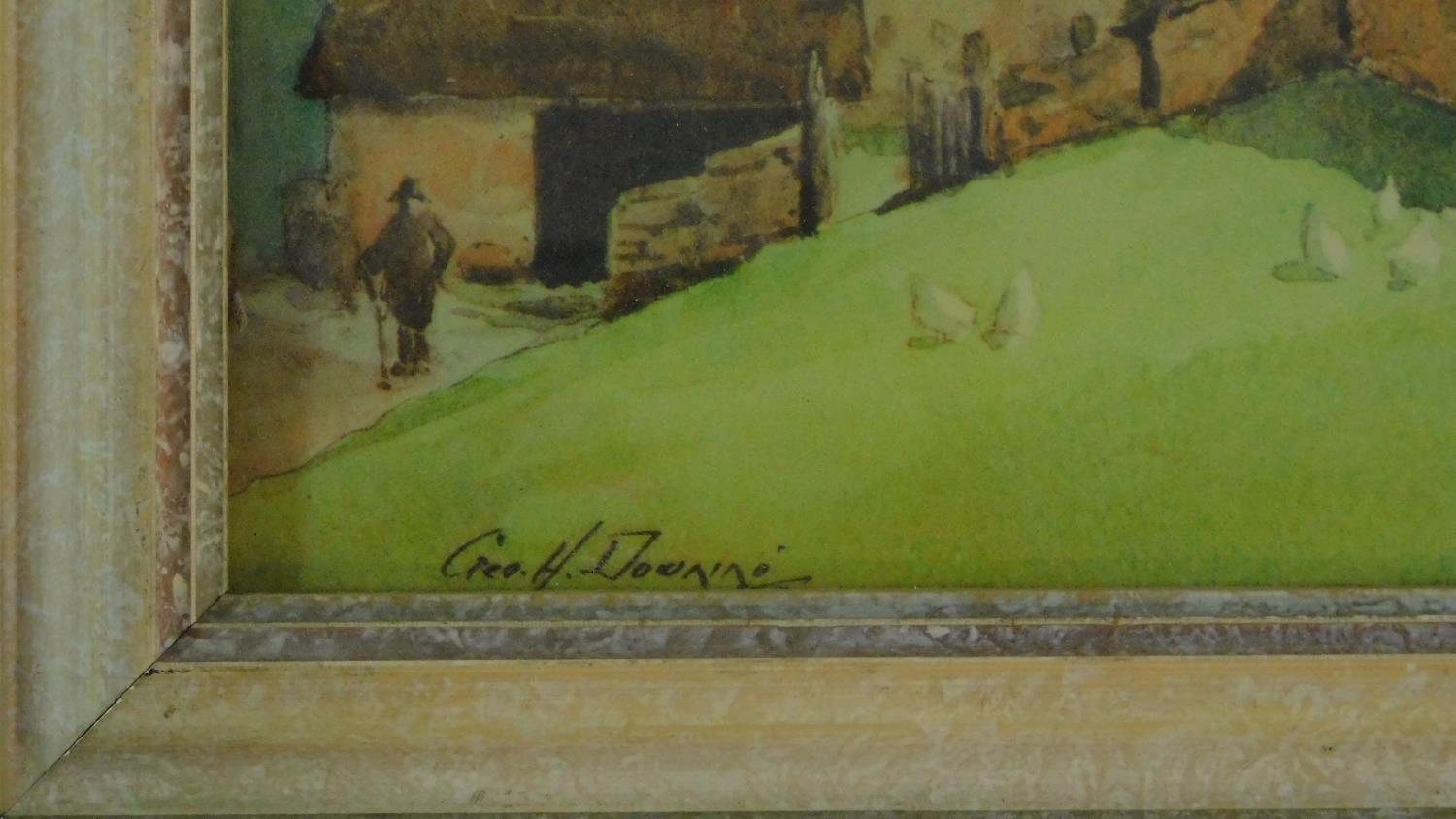 A framed and glazed watercolour, cart on a bridge in bucolic scene, indistinctly signed and a - Image 5 of 7