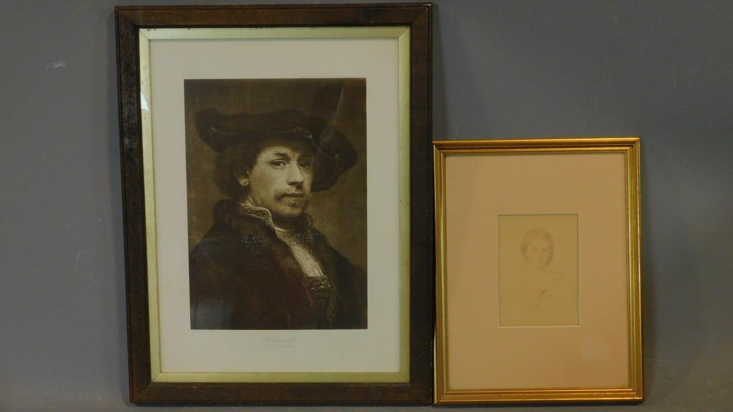 A late 19th century glazed and framed print, Rembrandt and a framed and glazed print, inscription