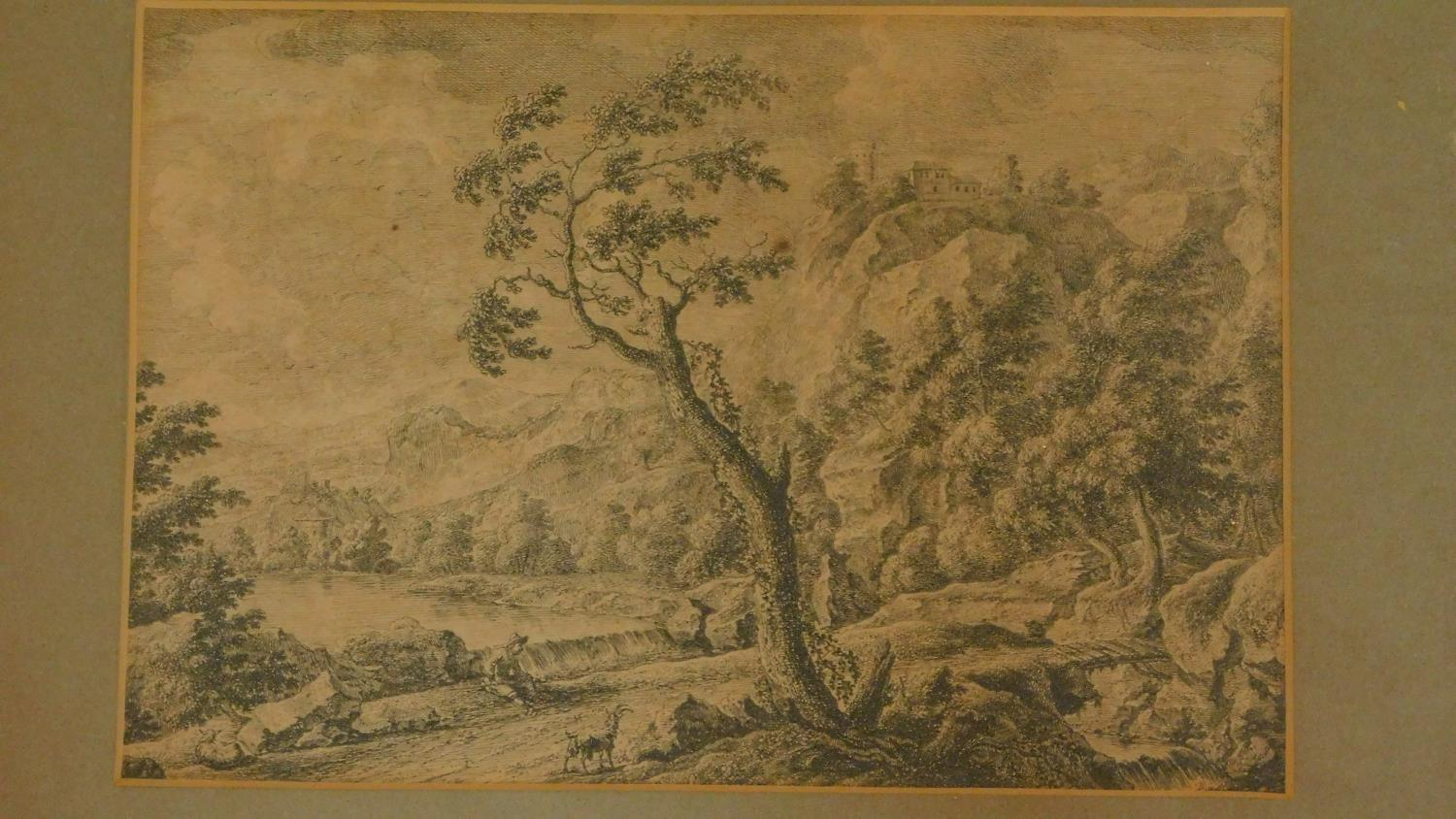 A miscellaneous collection of five 18th century and later framed and glazed prints and an unframed - Image 4 of 7