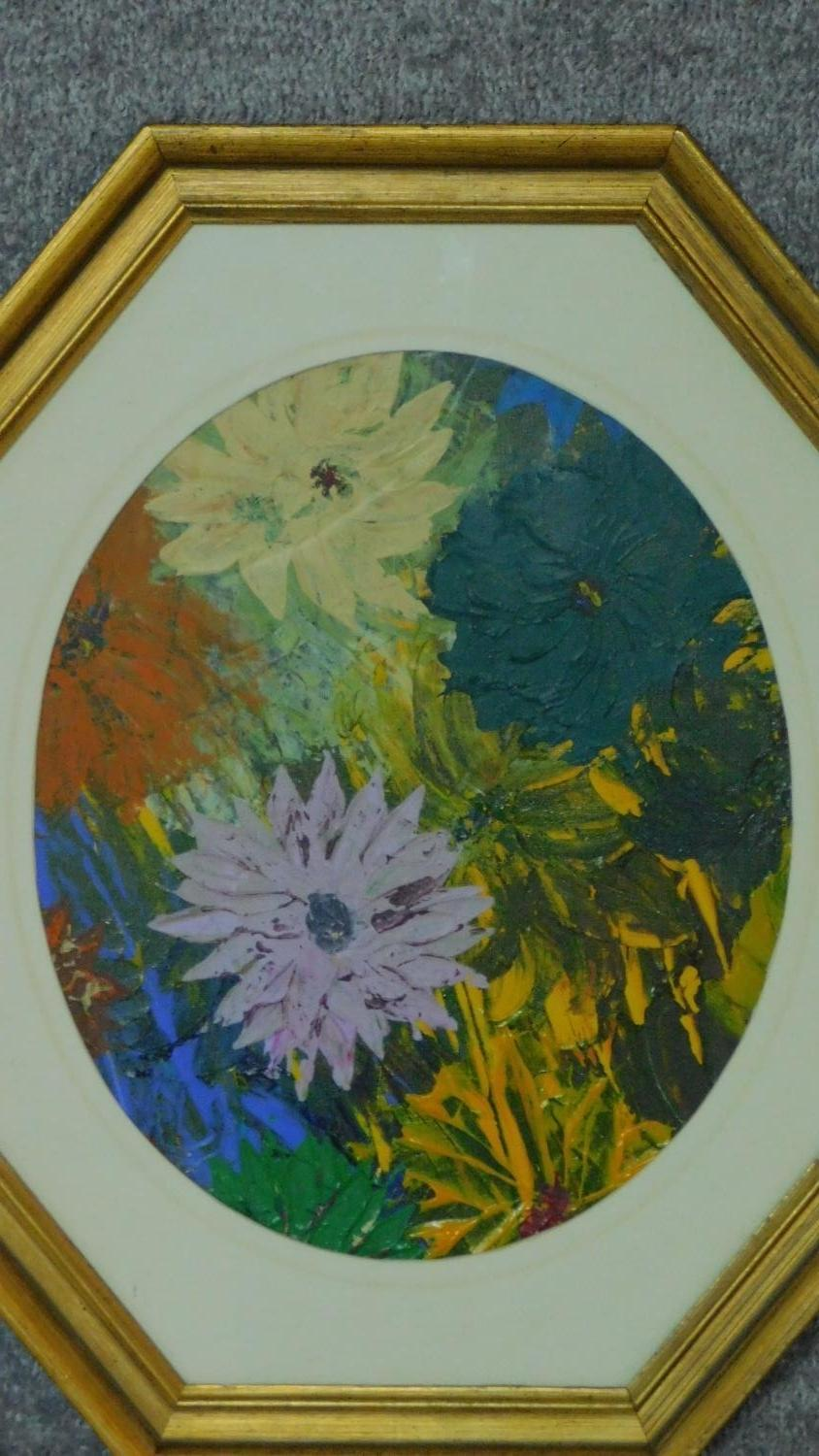 A pair of oils on board, flowers, in octagonal glazed frames. 49x44 (largest) - Image 3 of 4