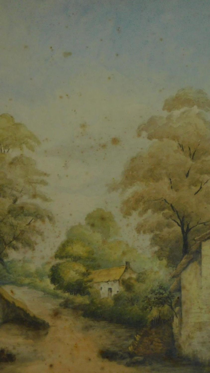 A 19th century framed and glazed watercolour country landscape and a framed pen and ink drawing. - Image 5 of 7