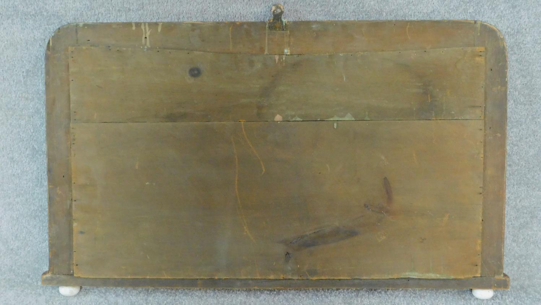 A Victorian walnut and Tunbridgeware inlaid overmantel mirror. 50x82cm - Image 3 of 3