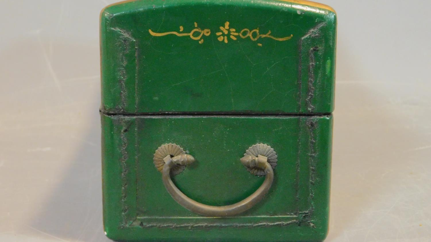 A green painted and lacquered Chinese box with floral motifs. H.12 W.28 D.11.5cm - Image 8 of 9