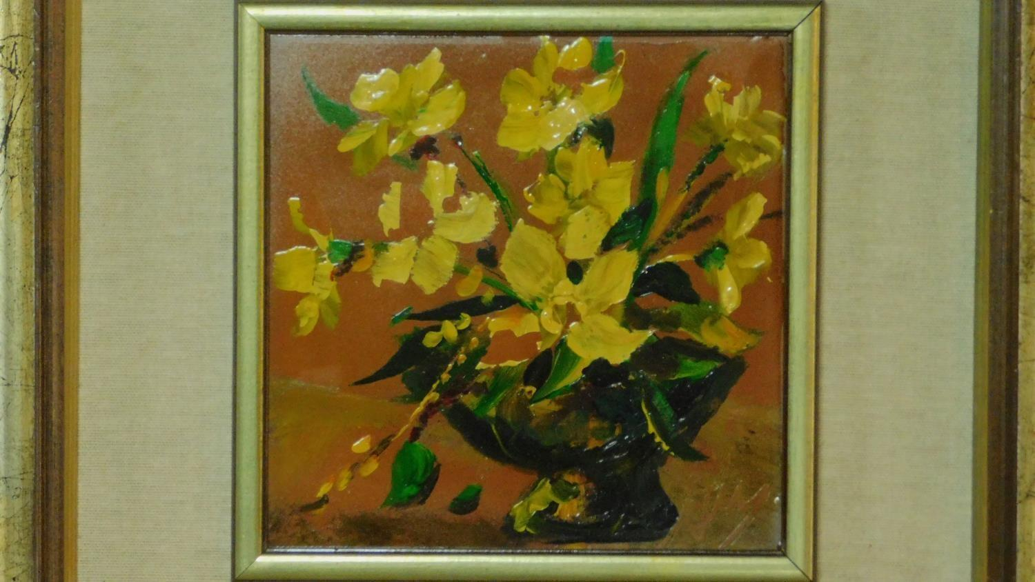 A pair of framed oils on board, still life flowers, monogrammed. 45x45cm (some paint flaking) - Image 3 of 5