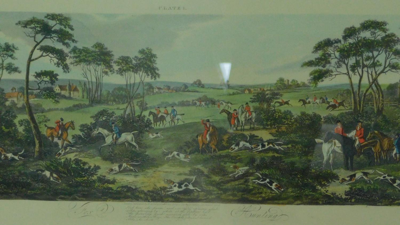 A set of four gilt framed and glazed hunting prints. 43x87cm - Image 4 of 5