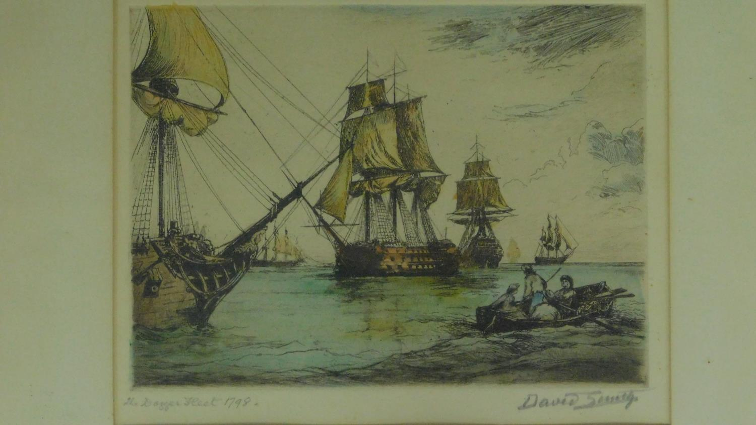 A signed etching of a continental street scene, a similar of a ship at sea and a collection of other - Image 3 of 8