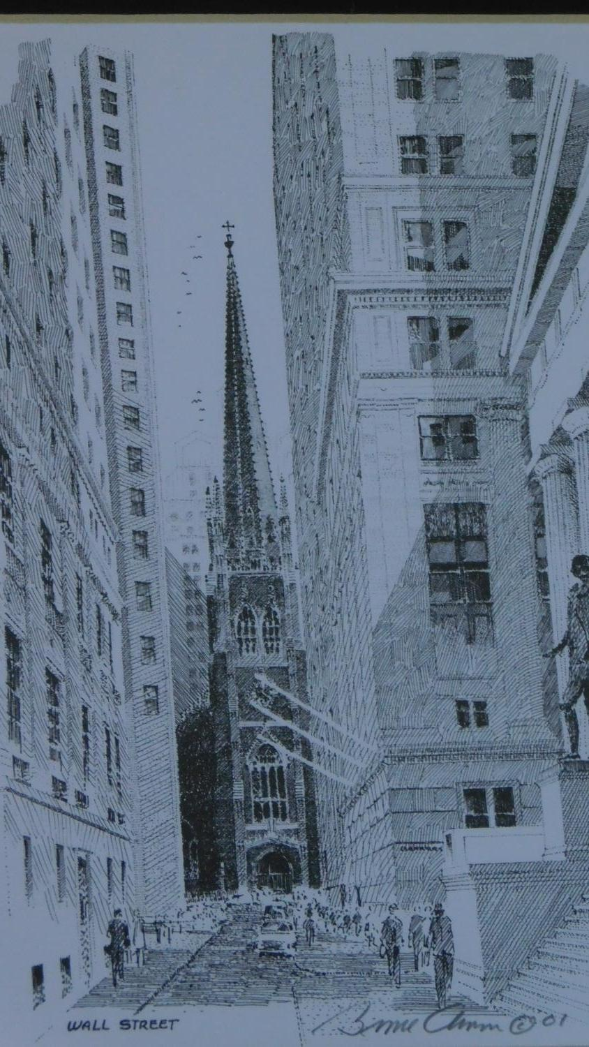 A set of three framed and glazed prints and a signed lithograph of Wall street. 28x23cm - Image 5 of 7