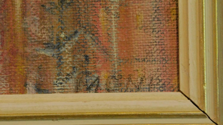 A framed oil on board, modernist landscape, indistinctly signed. 48x58cm - Image 3 of 5