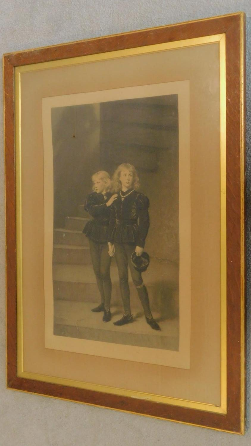 A large 19th century framed and glazed print of the young princes. 104x77cm