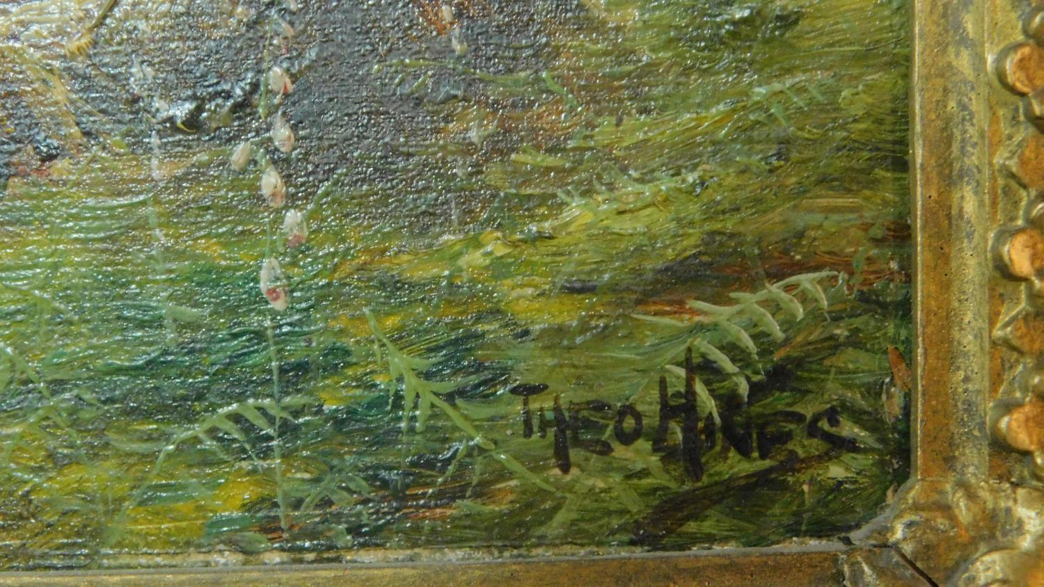 A pair of gilt framed oil paintings on canvas, Scottish landscapes, signed Theo Hines, signature and - Image 5 of 6
