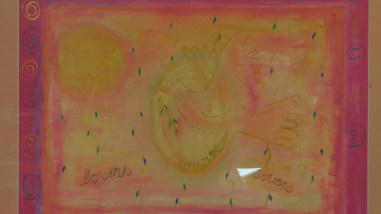 A large framed and glazed pastel, Dove of Peace. 80x96cm - Image 2 of 4