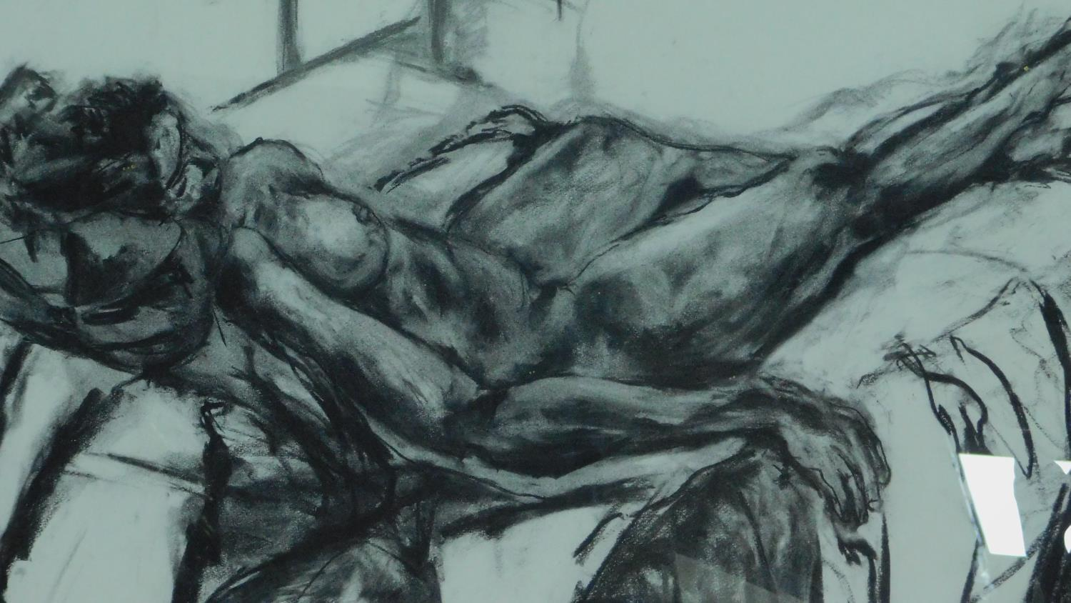 Two framed and glazed charcoal nude studies, monogrammed G H - 78x92 (largest) - Image 3 of 4