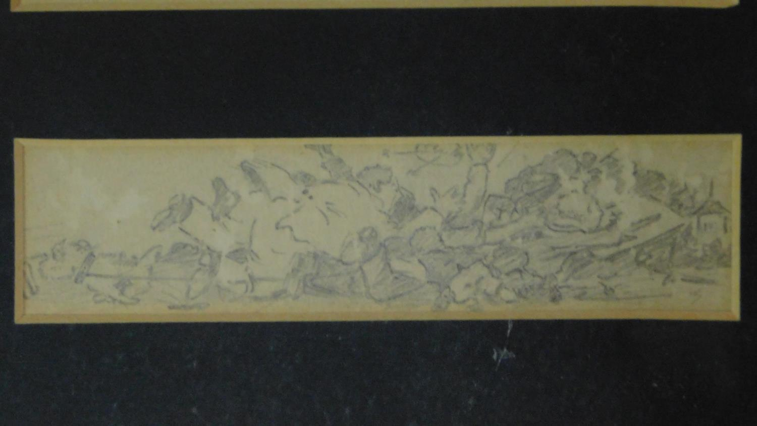 Three pencil sketches framed as one, signed, Henry Elliot Blake. 30x19cm - Image 4 of 6