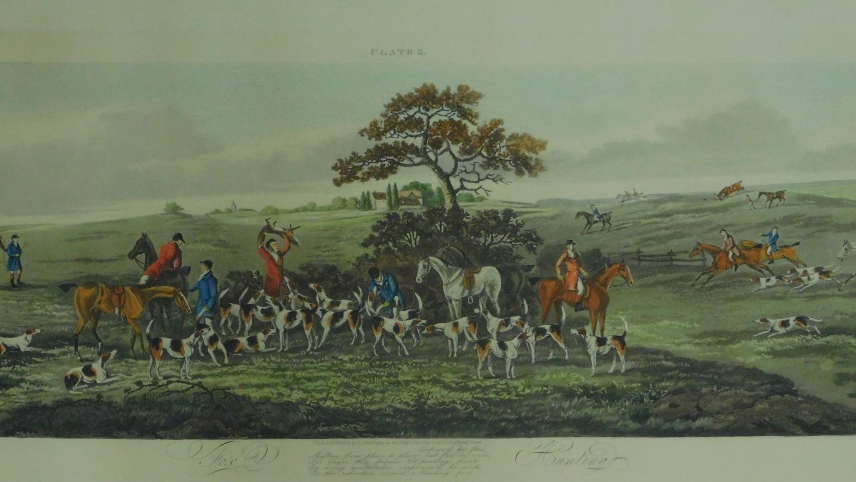 A set of four gilt framed and glazed hunting prints. 43x87cm - Image 3 of 5