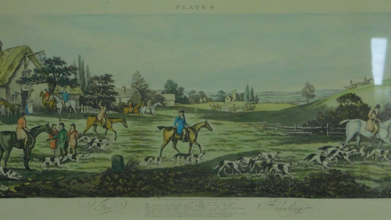 A set of four gilt framed and glazed hunting prints. 43x87cm - Image 2 of 5