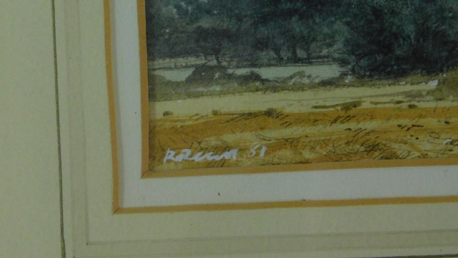 A framed and glazed watercolour, cart on a bridge in bucolic scene, indistinctly signed and a - Image 3 of 7