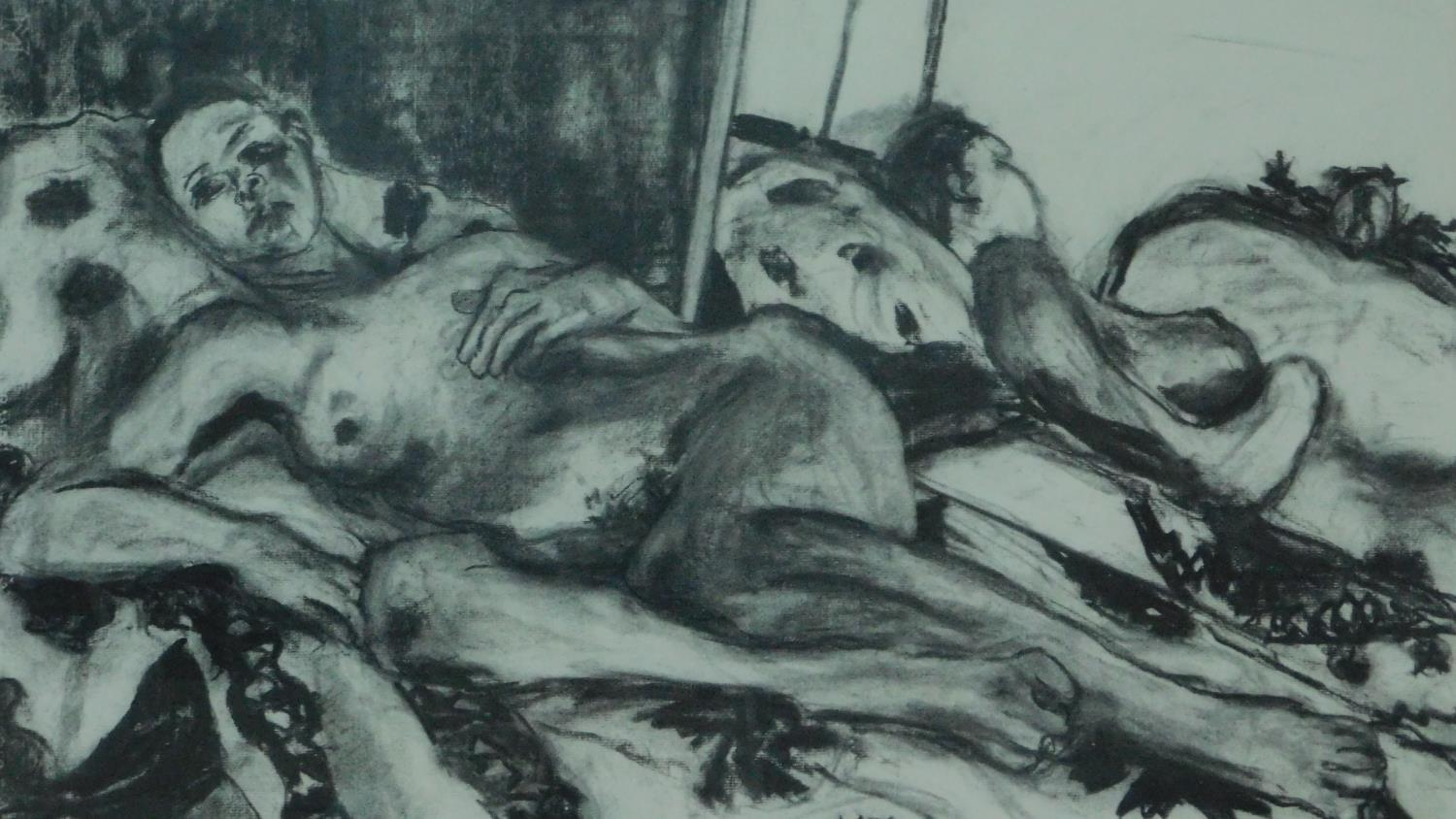 Two framed and glazed charcoal nude studies, monogrammed G H - 78x92 (largest) - Image 2 of 4