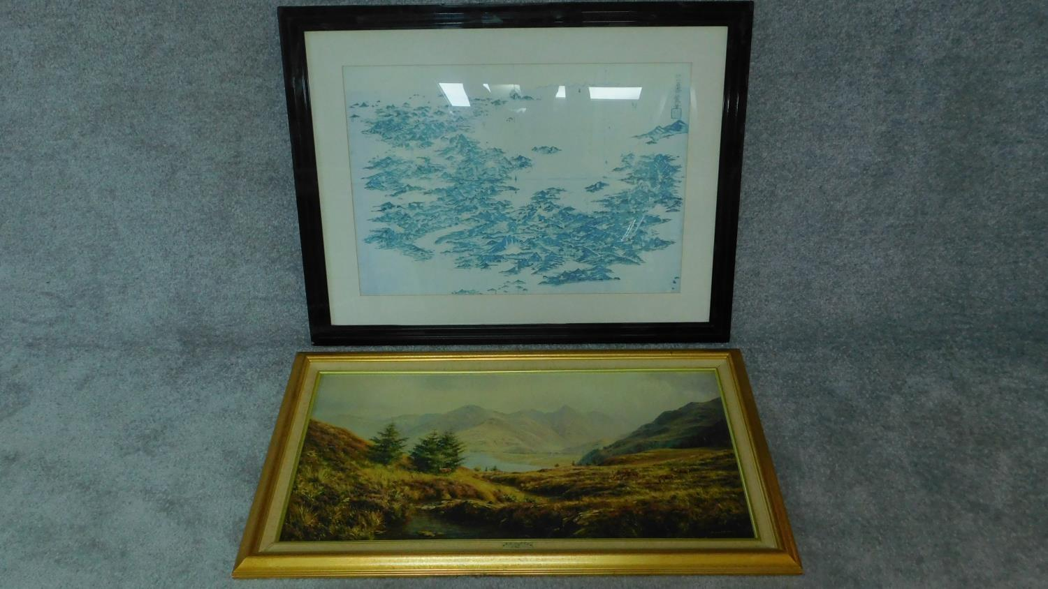 A large framed and glazed print, Japanese islands and a reproduction of a Highland Scene. 78x100 (