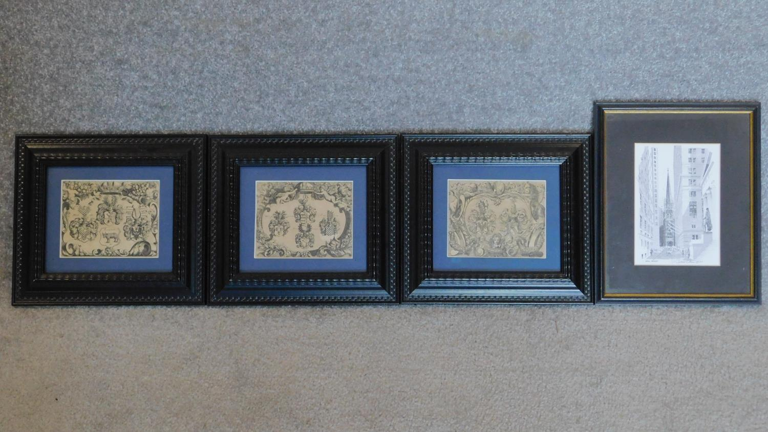 A set of three framed and glazed prints and a signed lithograph of Wall street. 28x23cm