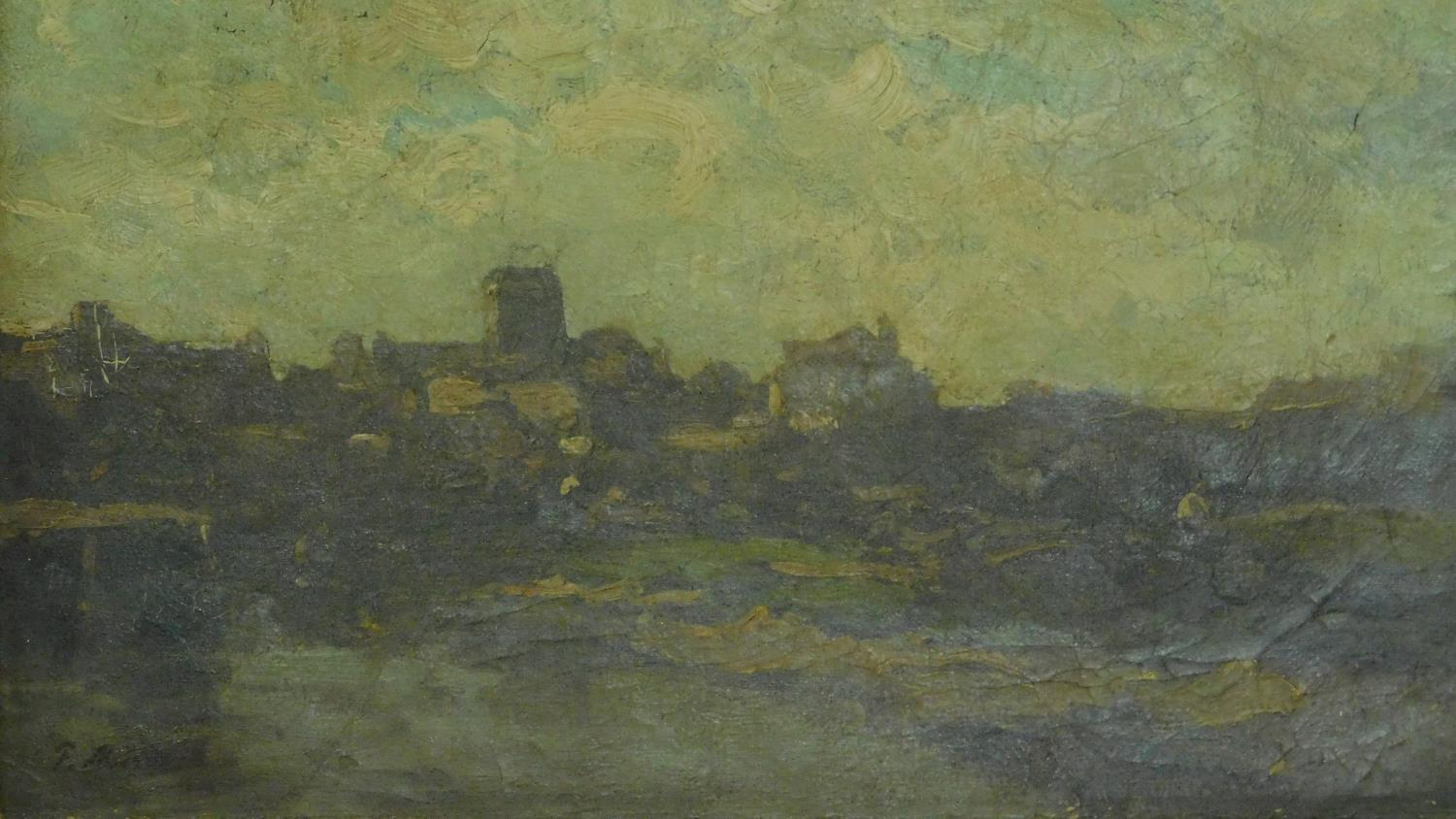 A 19th century gilt framed oil on canvas, A Norman church on the skyline in a village by an estuary, - Image 2 of 6