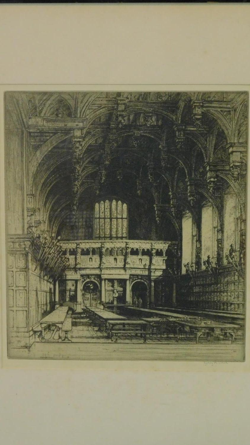 A 19th century signed lithograph of a church interior, another of a Venice canal and a 19th - Image 4 of 9