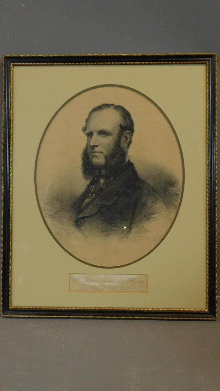 A framed and glazed print, J Anstruther Thomson Esq. 52x43cm