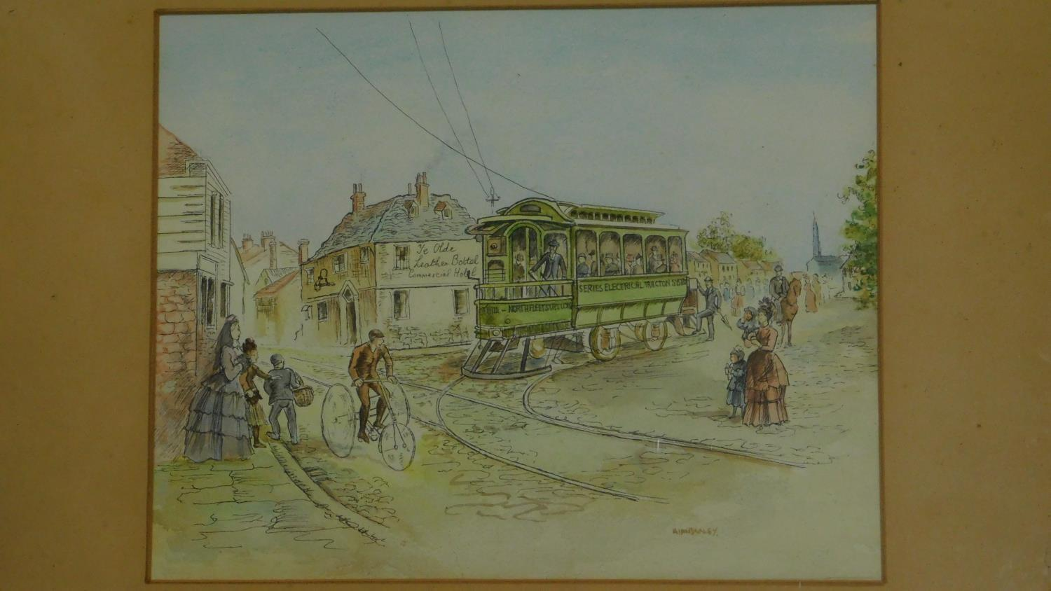 A 19th century framed and glazed watercolour country landscape and a framed pen and ink drawing. - Image 2 of 7