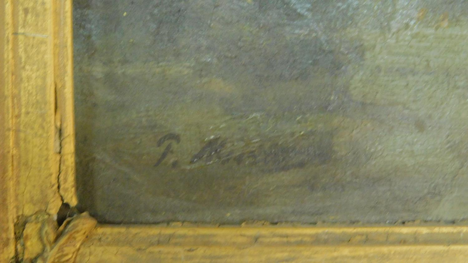 A 19th century gilt framed oil on canvas, A Norman church on the skyline in a village by an estuary, - Image 5 of 6