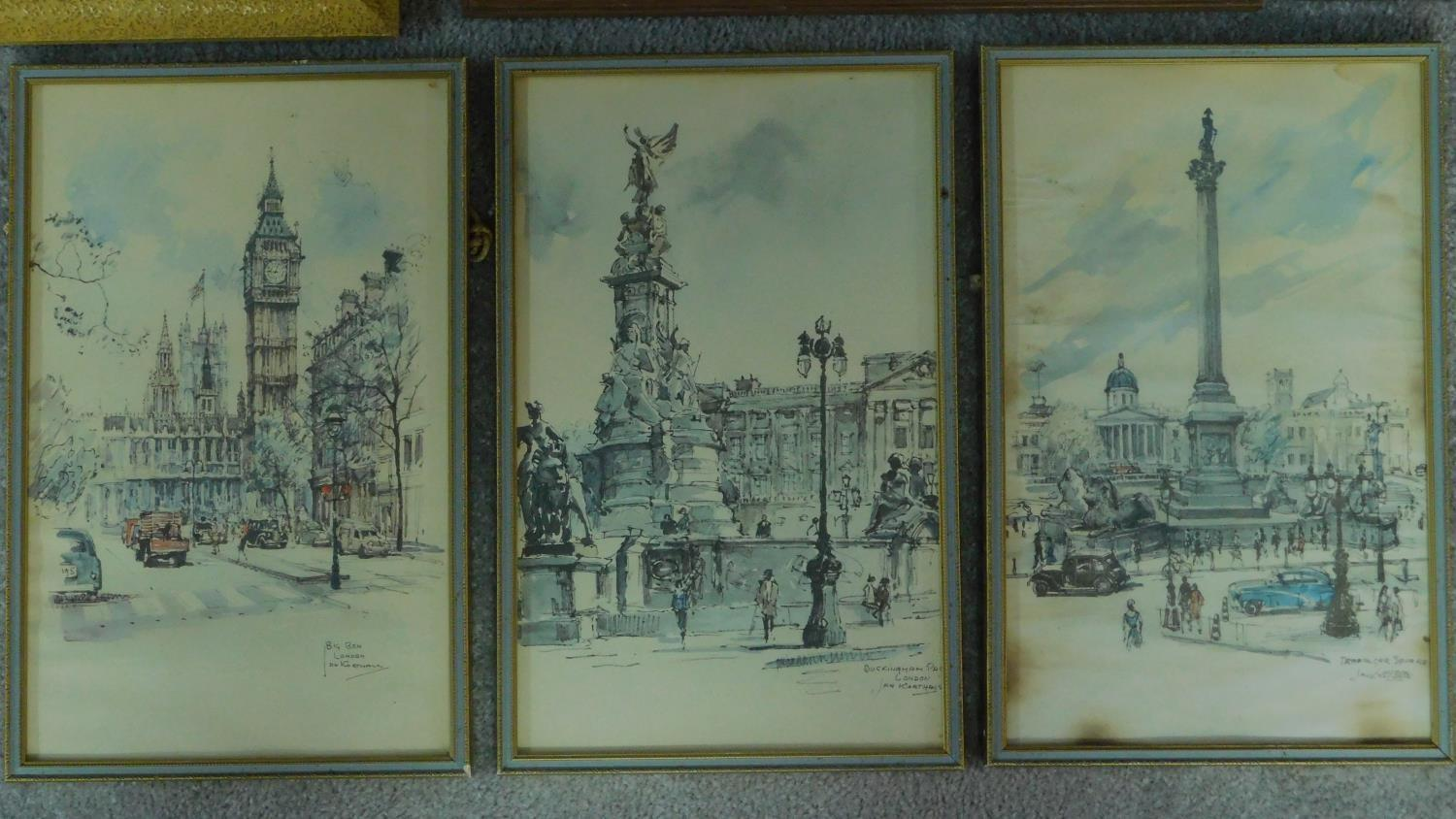 A signed etching of a continental street scene, a similar of a ship at sea and a collection of other - Image 2 of 8