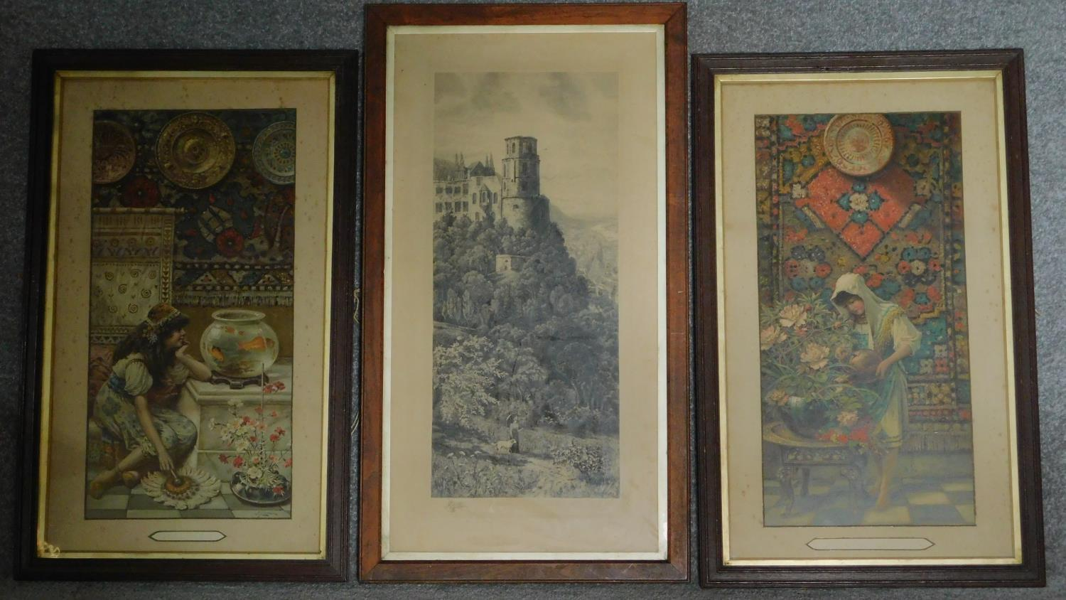 """A pair of late 19th century framed and glazed prints """"Goldfish"""" and """"Oriental Colours"""" and a 19th"""