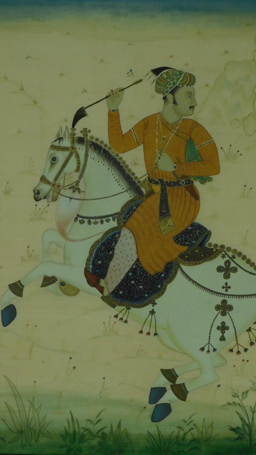 A framed Indian equestrian painting on silk, horseman on Rajasthan Marwari. h118x96cm - Image 2 of 8