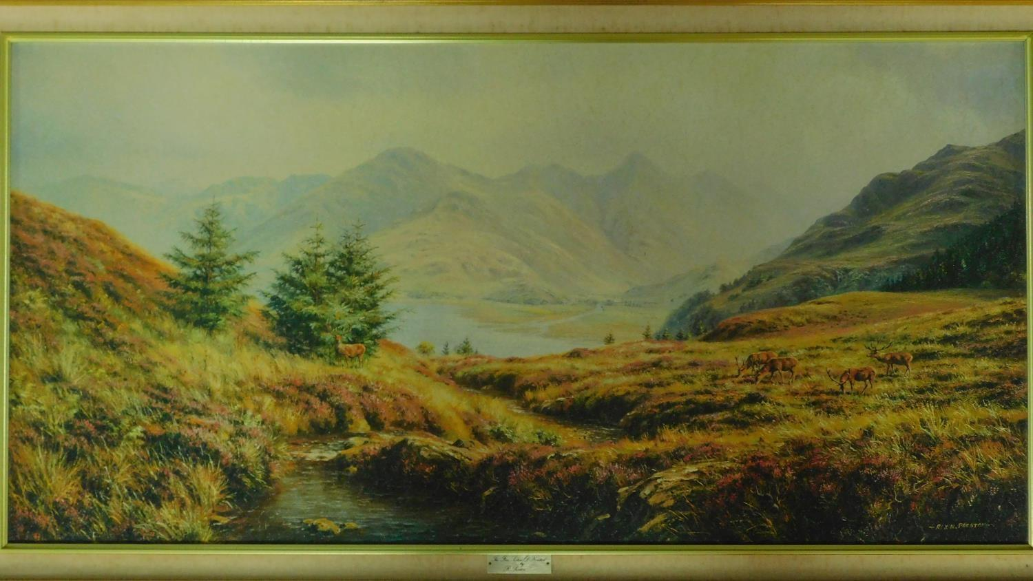 A large framed and glazed print, Japanese islands and a reproduction of a Highland Scene. 78x100 ( - Image 4 of 6