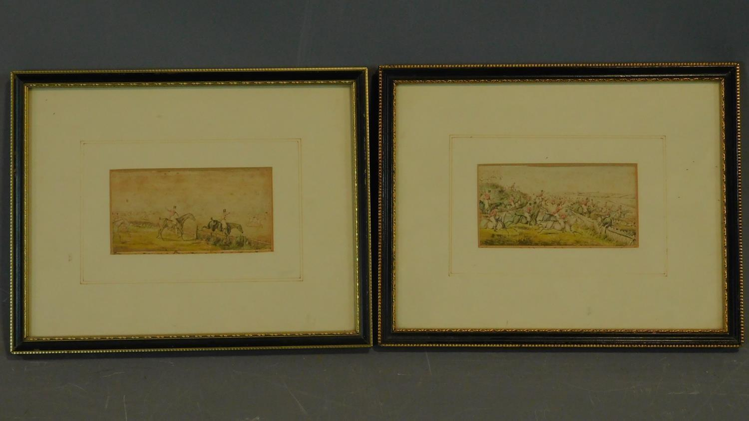 A pair of 19th century hunting prints. 25x20cm (largest)