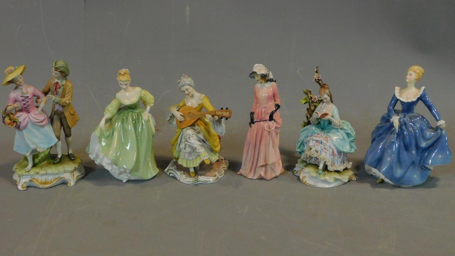 A collection of six Royal Doulton and other figures. H.20 (tallest)