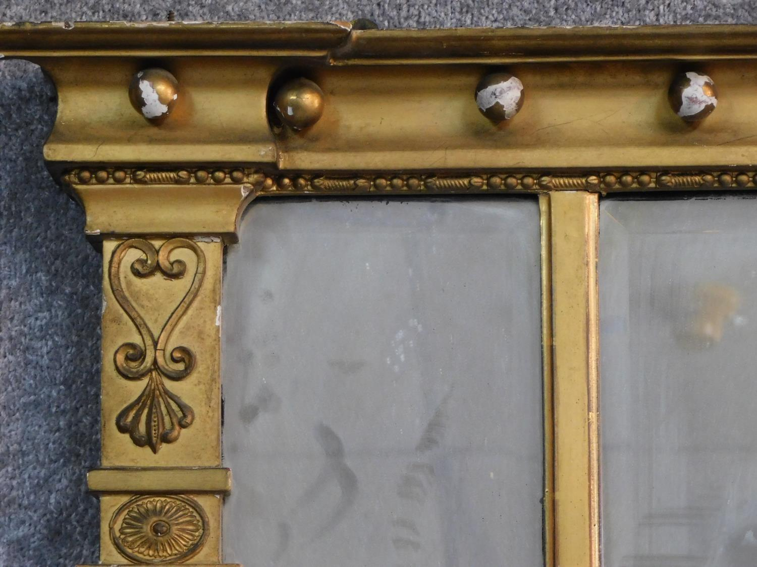 A Regency gilt triple section overmantel mirror with original bevelled plates flanked by reeded - Image 2 of 5