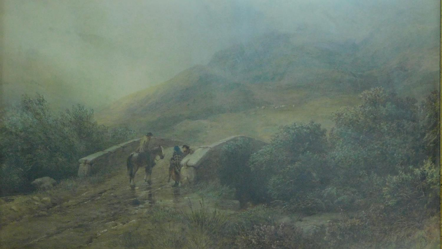 A 19th century framed and glazed watercolour, Dartmoor scene, signed D. H. McKewan, 1873, label - Image 2 of 8