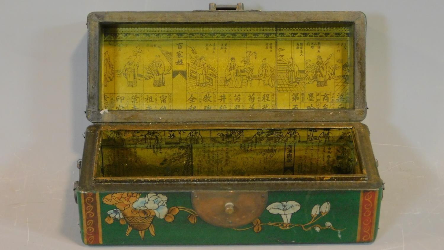 A green painted and lacquered Chinese box with floral motifs. H.12 W.28 D.11.5cm - Image 9 of 9