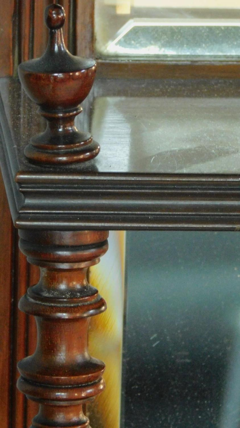 A Victorian carved walnut overmantel mirror with original bevelled plates. H.142 W.149 D.20cm - Image 5 of 7