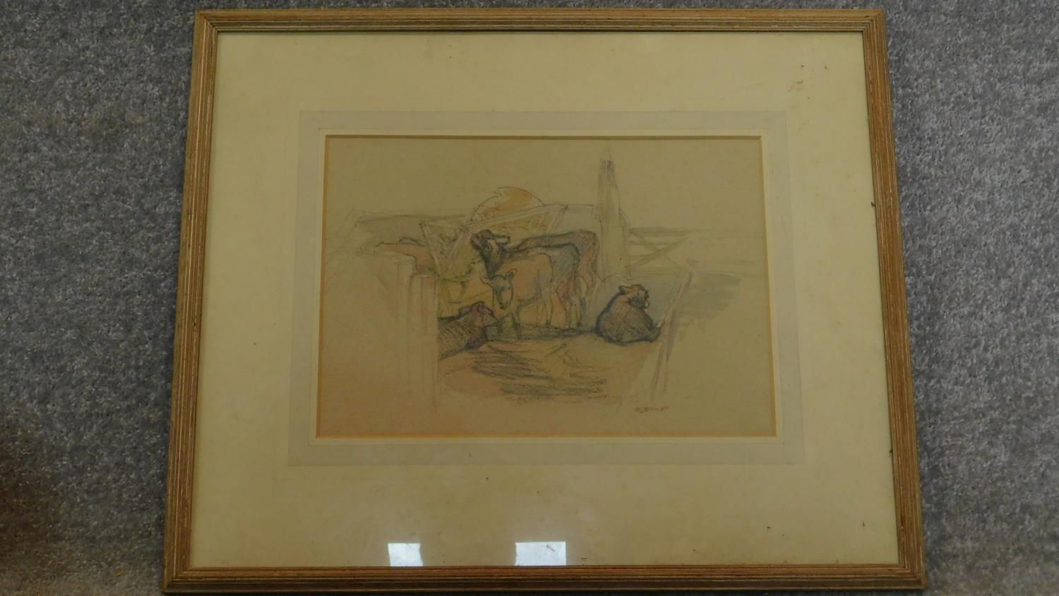 A framed and glazed pastel and watercolour sketch, cows in a farmyard, signed Ivy Bailey, gallery