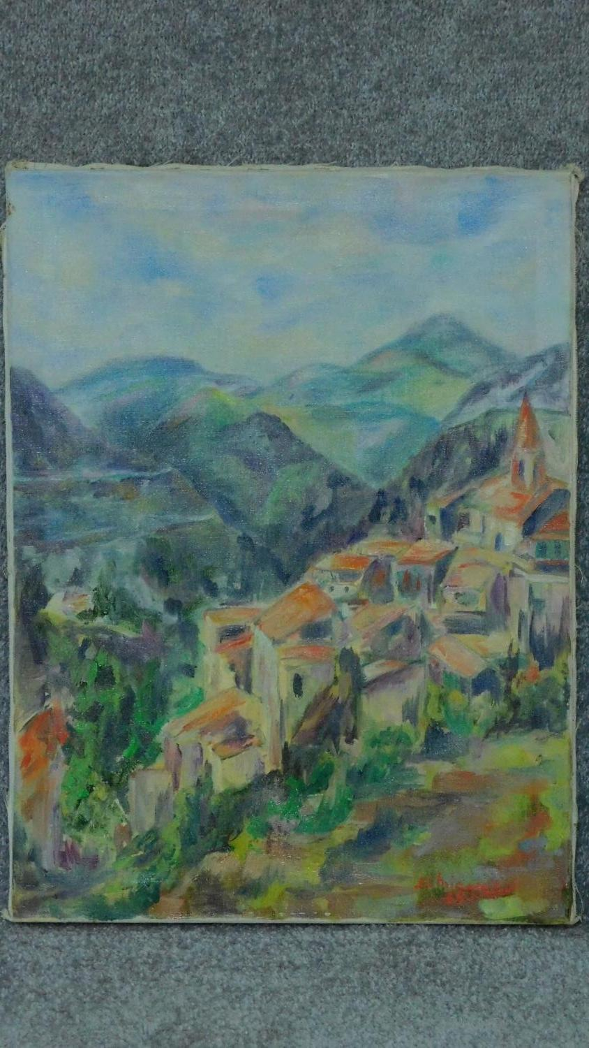 An unframed oil on canvas, Sardinian landscape, signed J C Michel 69. 61x46cm