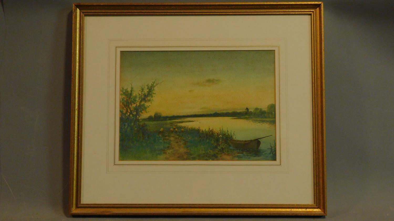 A framed and glazed watercolour, sheep on a path and boat in a riverscape, indistinctly signed.