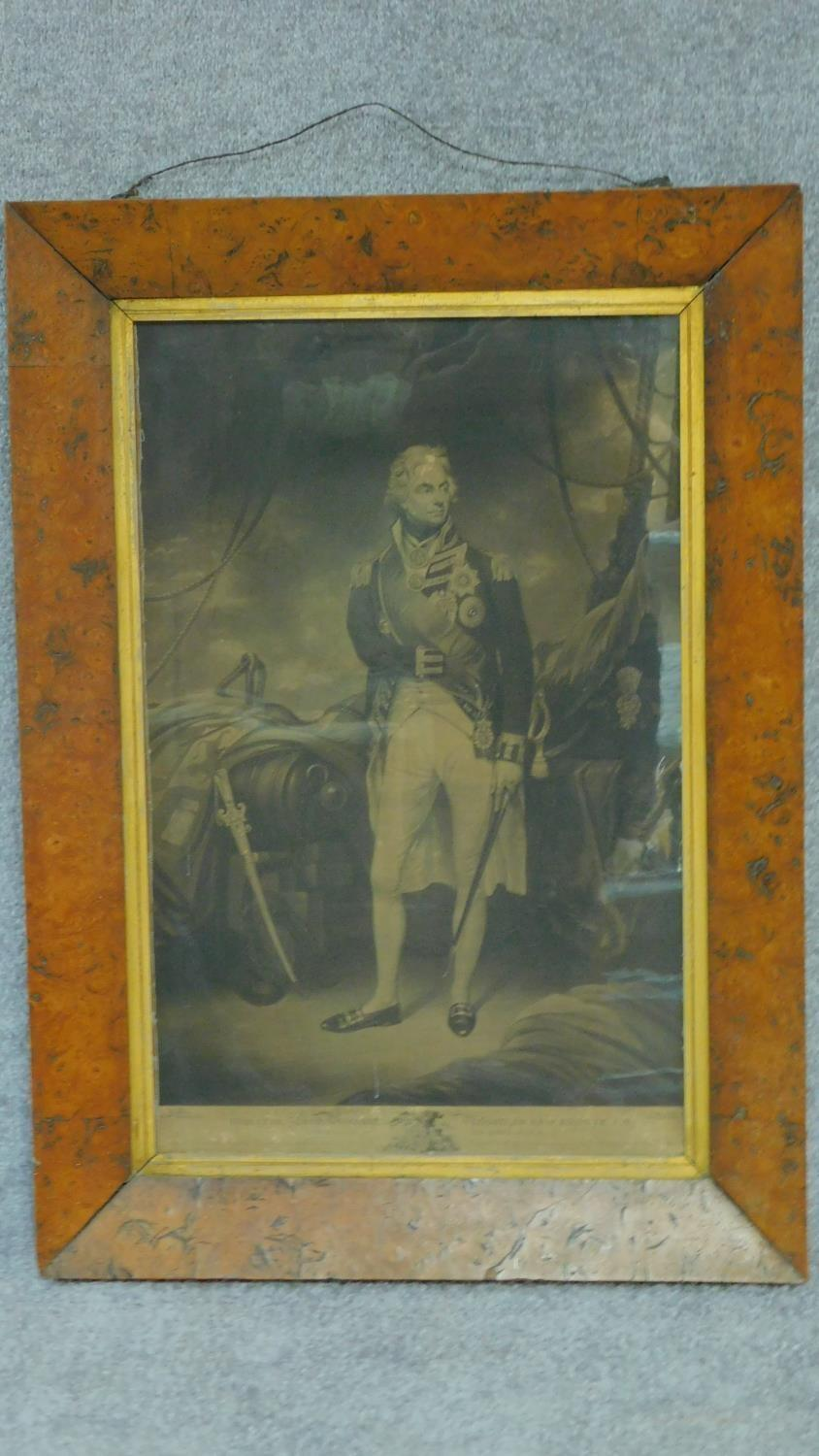 A 19th century maple framed and glazed engraving, Lord Viscount Nelson, Duke of Bronte, Engraved