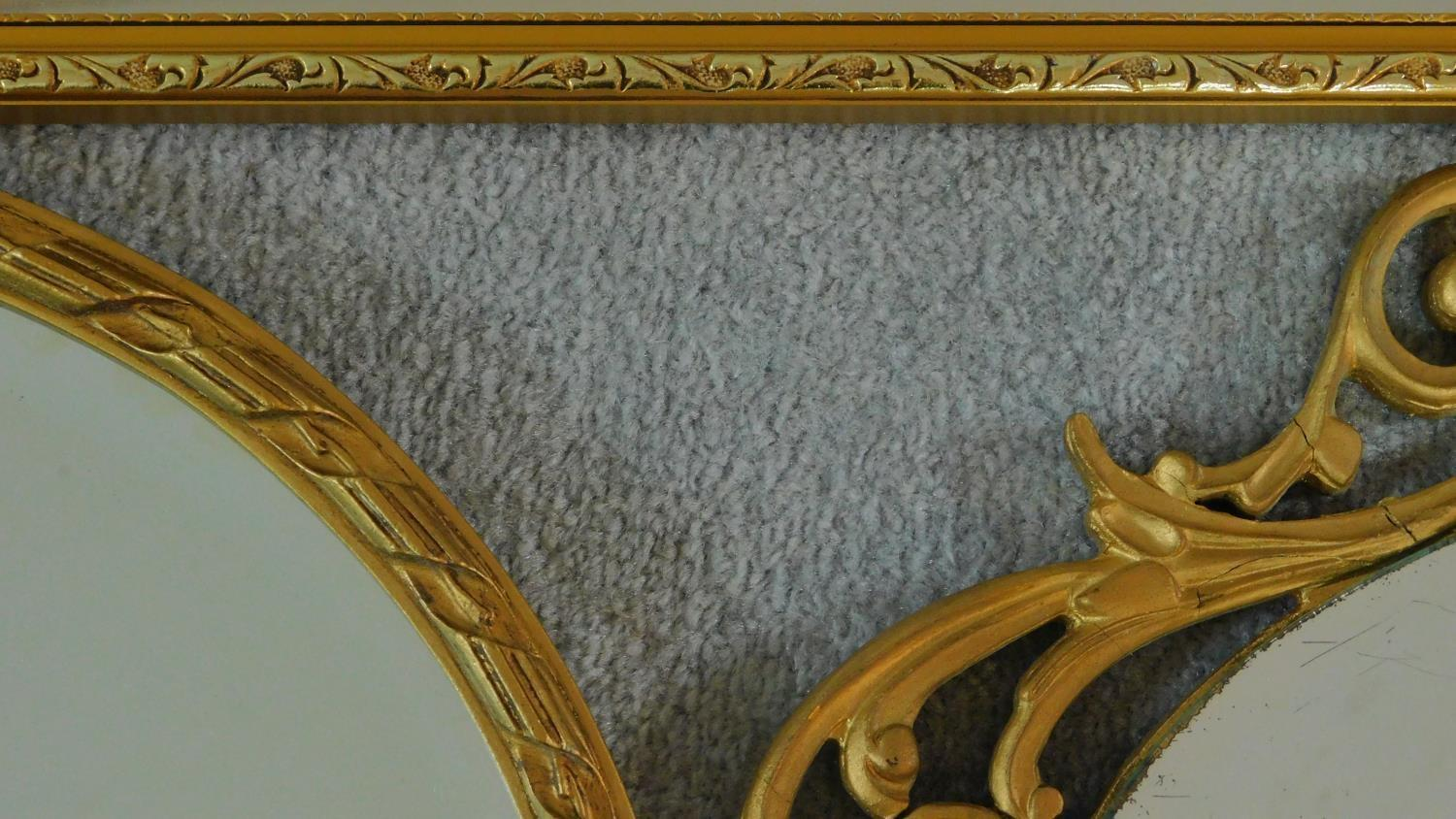 A rectangular gilt wall mirror and two oval gilt mirrors. 120x34cm - Image 5 of 5