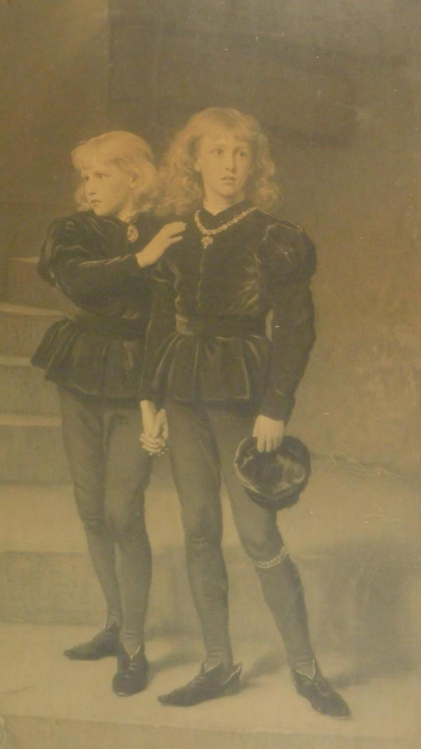 A large 19th century framed and glazed print of the young princes. 104x77cm - Image 2 of 7