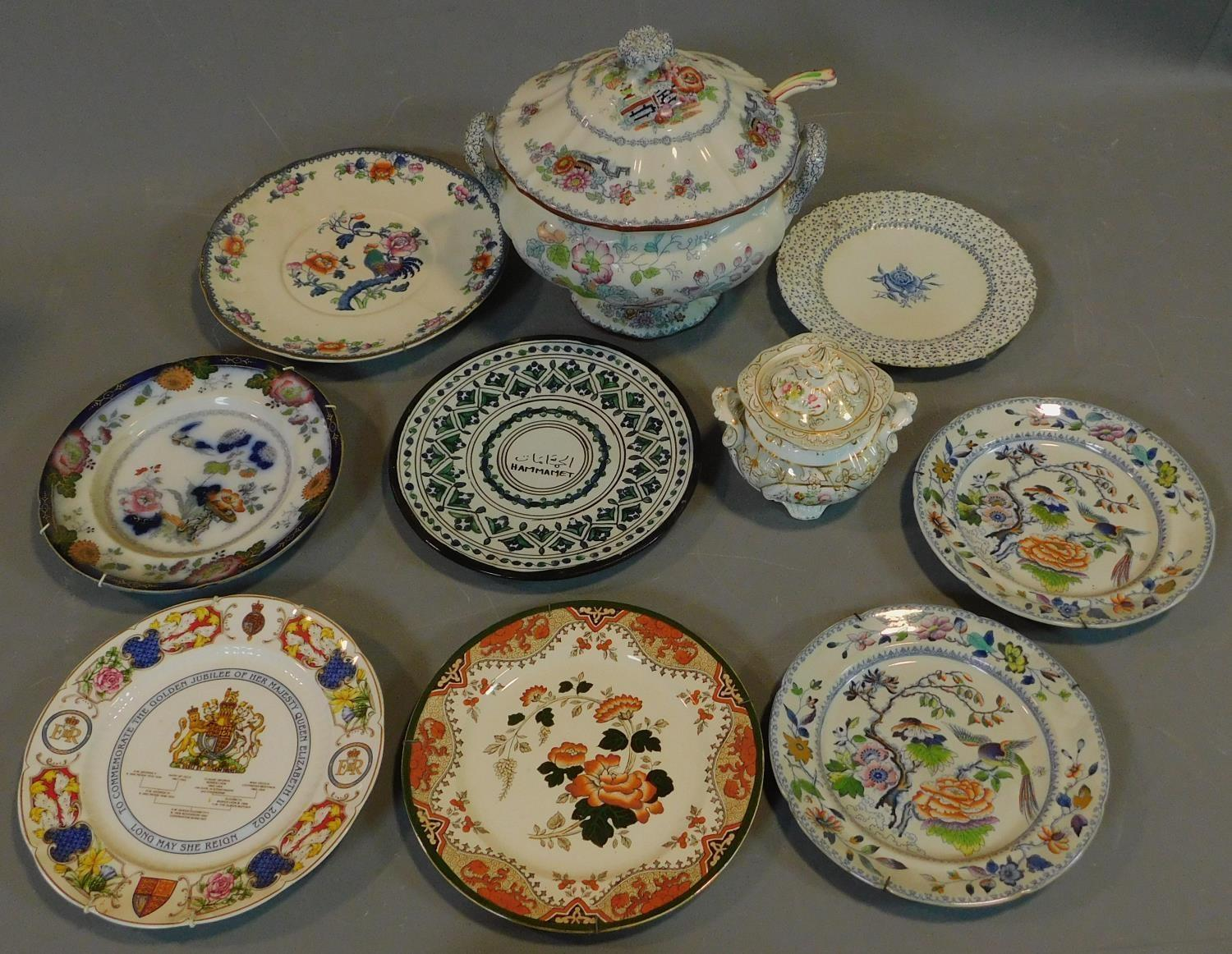 A 19th century Staffordshire ironstone tureen and cover (associated ladle) and various other