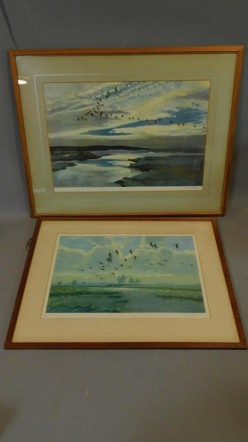 Two framed and glazed Peter Scott prints, each signed by Peter Scott. 83x66cm