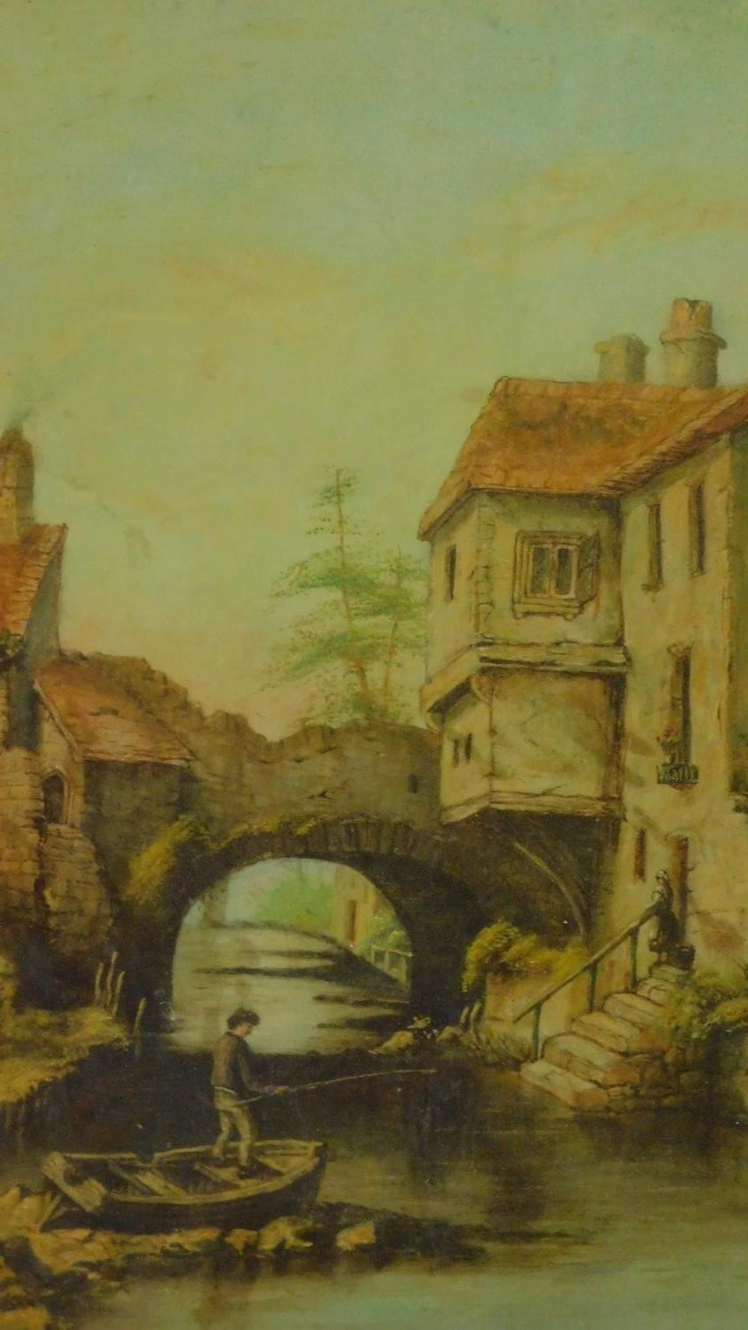 A gilt framed and glazed oil on board of a continental canal scene. 49x37cm - Image 2 of 4